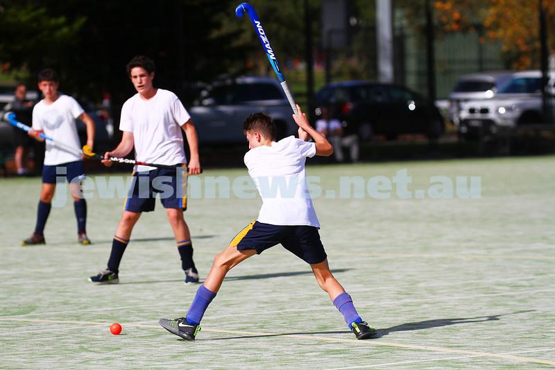 3-5-15. Maccabi U 16 Hockey drew with Hawthorn 1 - 1 at Albert Park. Photo: Peter Haskin