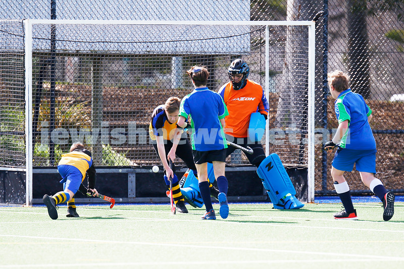 1-9-19. The Maccabi U 16 Hockey team move in to the grand final against Werribee after defeating St Bernards 3 - 1 in the second semi final played at Albert Park. Photo: Peter Haskin