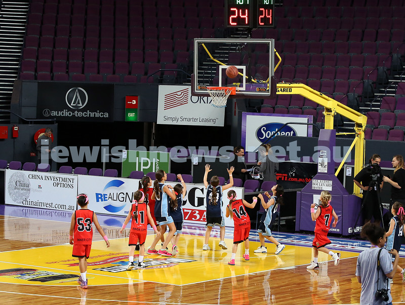 Maccabi U10 Mercury vs Inner City at The Sydney Entertainment Centre. Maccabi lost 36-4. Tali Ware takes a shot at basket.