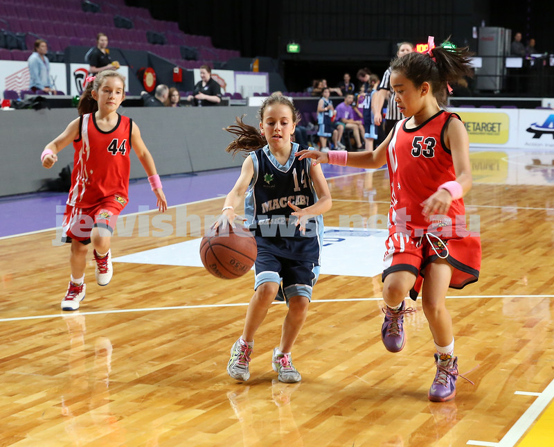 Maccabi U10 Mercury vs Inner City at The Sydney Entertainment Centre. Maccabi lost 36-4. Lila Greenberg controls the ball.