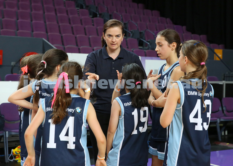 Maccabi U10 Mercury vs Inner City at The Sydney Entertainment Centre. Maccabi lost 36-4. Coach Marissa Ely rallies the team during time out.