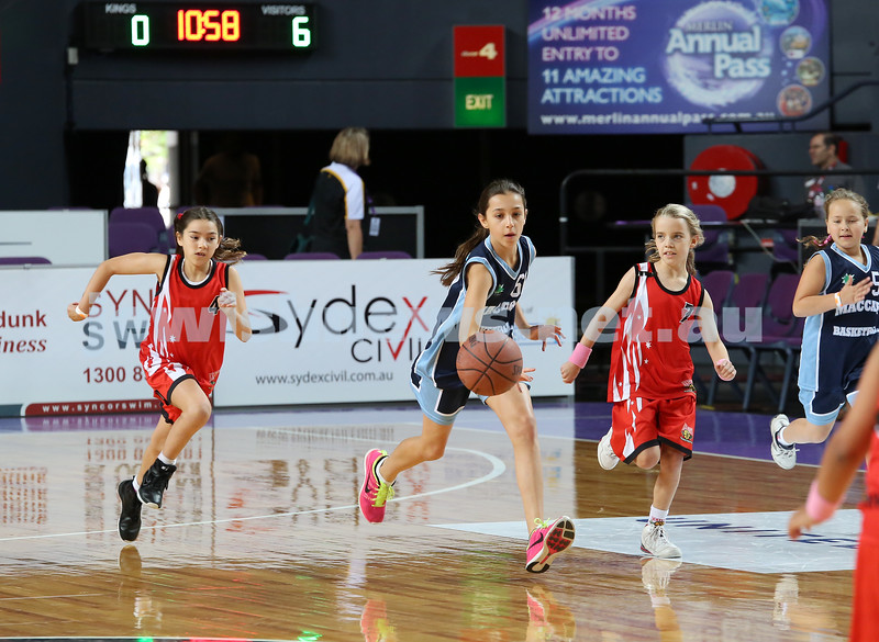 Maccabi U10 Mercury vs Inner City at The Sydney Entertainment Centre. Maccabi lost 36-4. Claudia Lees runs with the ball.