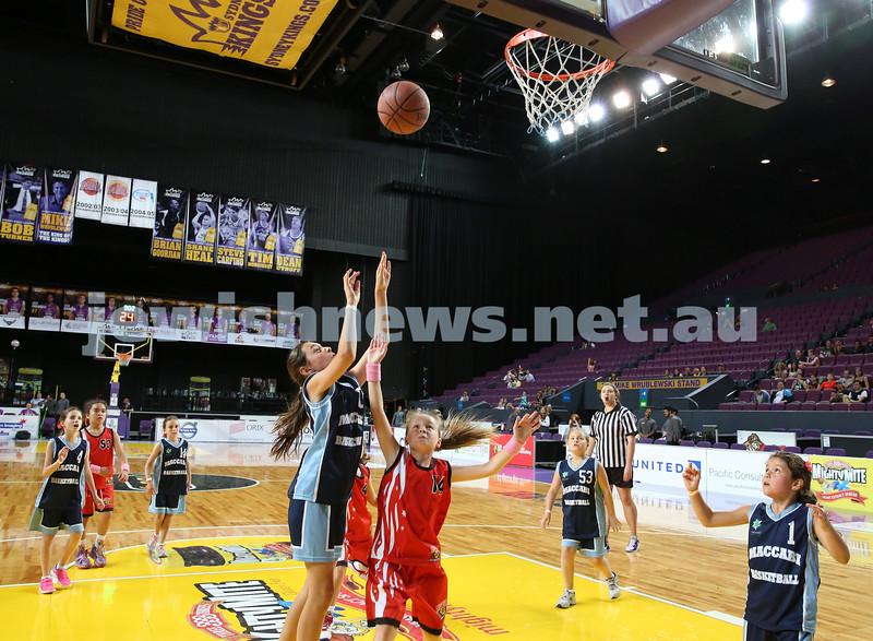 Maccabi U10 Mercury vs Inner City at The Sydney Entertainment Centre. Maccabi lost 36-4. Claudia Lees shoots a basket.
