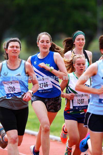 25-10-14. Maccabi athletics. Athletics Victoria Shield. Knox Athletics Track. Sarah Rushford, 1500 metres. Photo: Peter Haskin