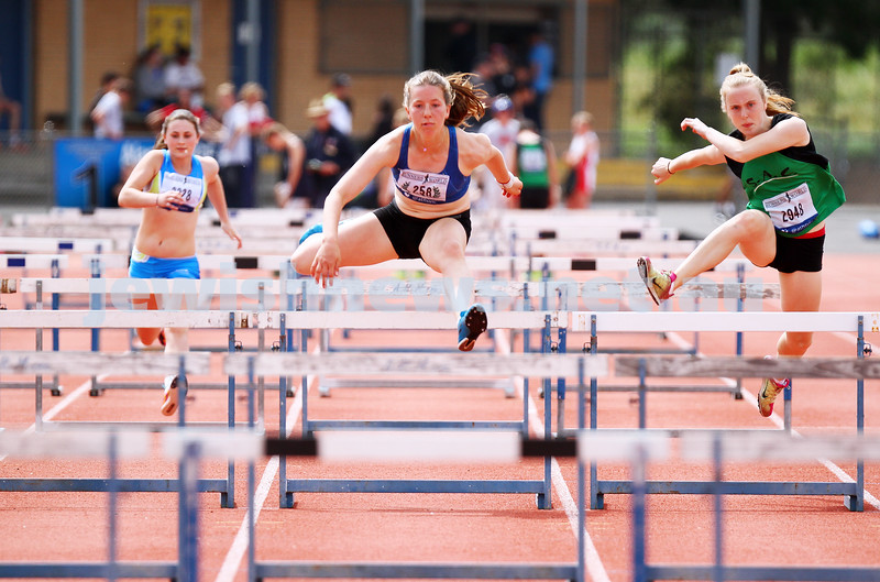 25-10-14. Maccabi athletics. Athletics Victoria Shield. Knox Athletics Track. Piper Montag, 110 mtrs hurdles. Photo: Peter Haskin