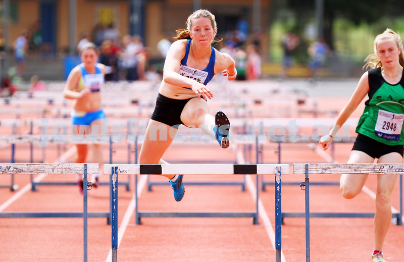 25-10-14. Maccabi athletics. Athletics Victoria Shield. Knox Athletics Track. Piper Montag, 110 mtrs hurdles. Photo: Peter Haskin