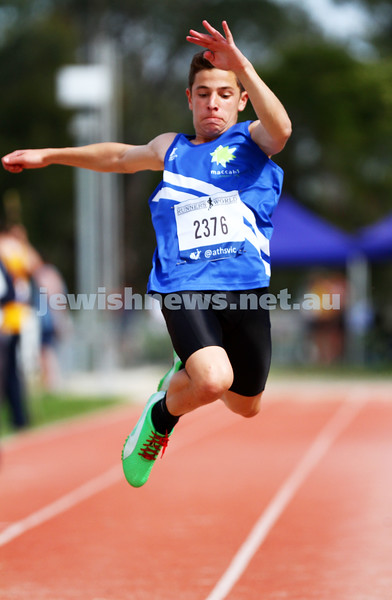 25-10-14. Maccabi athletics. Athletics Victoria Shield. Knox Athletics Track. Elijah Goldman. Photo: Peter Haskin