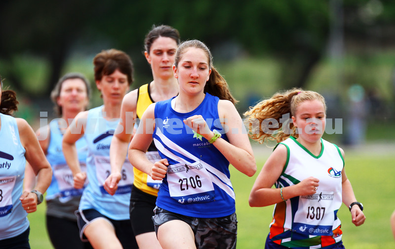 25-10-14. Maccabi athletics. Athletics Victoria Shield. Knox Athletics Track. Sarah Rushford, 1500 metres. Photo: Peter Haskin
