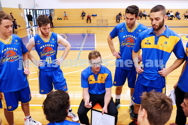 22-5-16. Maccabi Warriors lost to Pakenham Warriors 71 - 82 at Bialik Stadium.  Coach Daniel Sherr. Photo: Peter Haskin