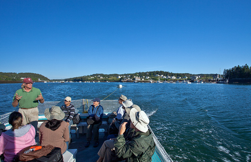 Capt. Andy Patterson gives us a talk while leaving Cutler harbor for Machias Seal Island.