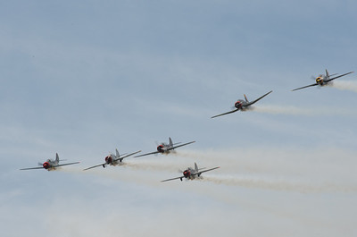 Red Thunder Airshow Team, flying Russian YAK-52 and Chinese Nanchang CJ-6 aircraft
