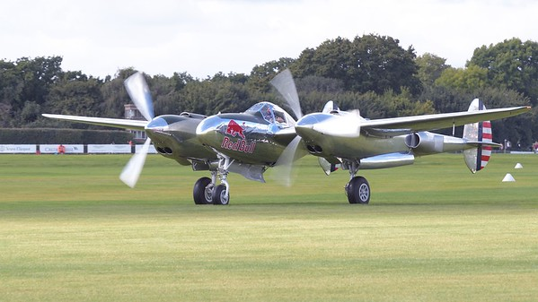 Lockheed P-38 Lightning on the airfield - The Goodwood Revival 2017