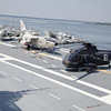 A-6E Intruder, EA-3B Skywarrior, and H-3 Sea King on the Flight Deck of the USS Yorktown. (from left to right)