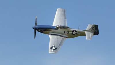 Mustang P51D Miss Helen in flight - The Goodwood Revival 2017
