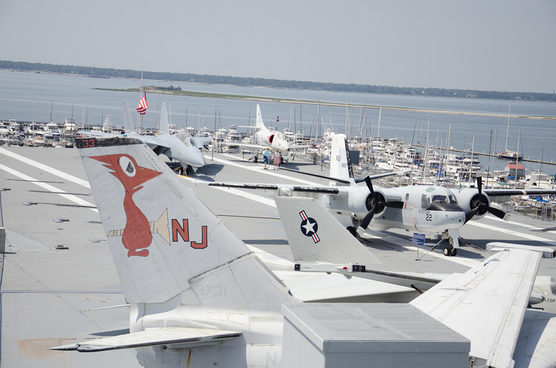 F-14A Tomcat, A-4C Skyhawk, and S-2E Tracker on the Flight Deck of the USS Yorktown. (background from left to right)