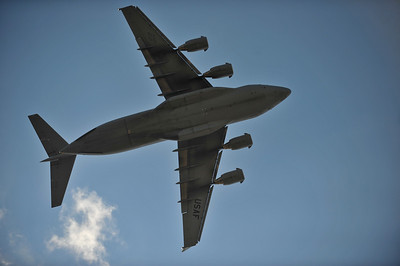 C-17 banks sharply over my head.