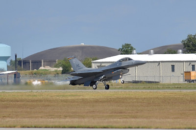 F-16 touches down after his demo.