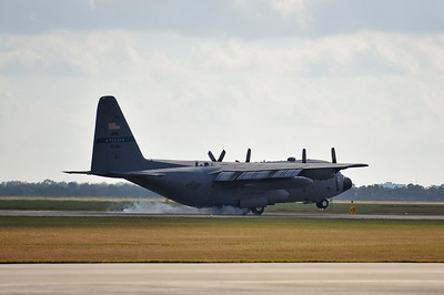 C-130 touches down.