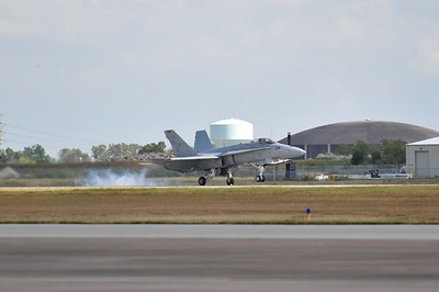 F-18 touches down after his demo.