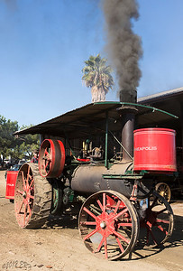 One of the steam powered tractors heading over to run the thresher.