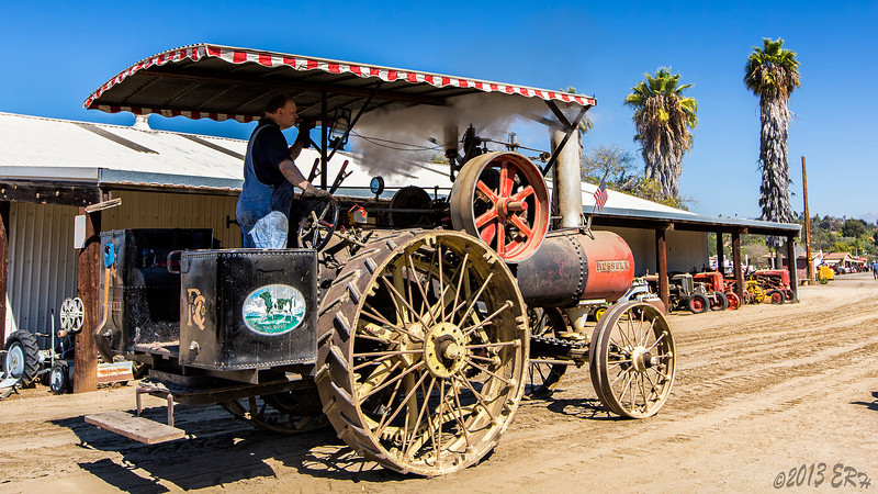 While the old steam tractors don't have the best in steering systems, they make up for it by being able to run over nearly anything.