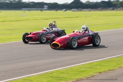 1957 Maserati 250F leads 1959 Technica Meccanica Maserati - Kalus Lehr - Tony Wood - The Goodwood Revival 2018