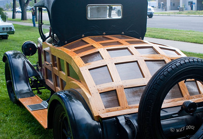 Rear View of Buick, showing the detailed wood work of trunk area