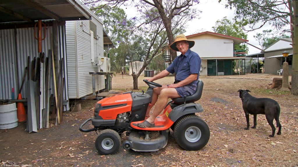 """The cat's away, the mice can play. Author and dog are 'batching' for a week or two. Dry weather and long, dry grass is a fire hazard at the rear of our four sheds. House car/BBQ shed is ok. The 42"""" cut soon takes care of it all. Photo by camera on tripod and 10sec self timer. Dog mate is not impressed with mower as he does not get to ride. For the rev heads: 1 cyl and variable tranny."""