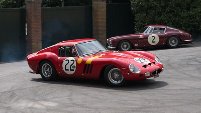 1963 Ferrari 250 GTO - owned by Nick Mason - background is a 1961 Ferrari 250 SWB-C SEFAC - Goodwood Festival of Speed 2018