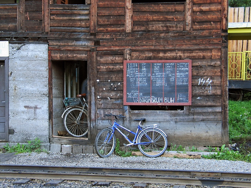 I' ll wait for you outside ! Viseul de Sus station, 2004<br /> This is the last narrow gauge steam traction railway in Europe