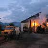Prepairing the rolling stock means put it on the right track. Gasoline engined ARO converted rail-car at Viseul de sus station, 2004, 5-30 am<br /> This is the last narrow gauge steam traction railway in Europe