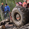 Logs, wheels and mud at Rapi, Valea Novatzului, Maramures, 2004<br /> From here are taken the logs to Viseu, 18 km away.<br /> This is the last narrow gauge steam traction railway in Europe