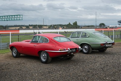A pair of E-Types at the Silverstone Classic 2017