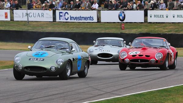 Aston Martin Project 212 1961 4164cc  (Wolfgang Friedrichs - Dave Cark) leads 1963 Ferrarri 330 GTO and 1963 Jaguar E-Type