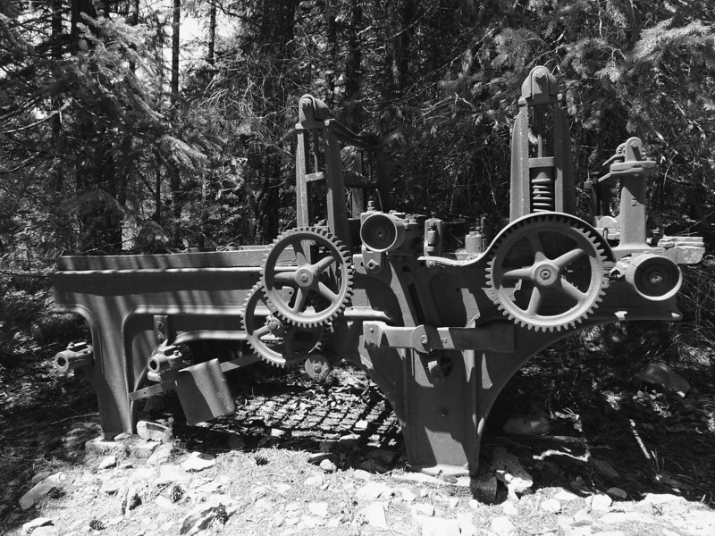 I have no idea what this piece of equipment did. My best guess is that it was some sort of an ore-crusher.