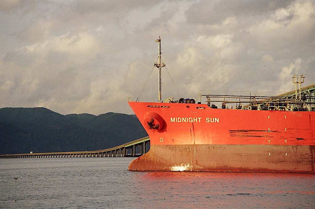 This ship was headed out to sea via the Columbia River -- Taken in early November, during which year, I cannot remember.