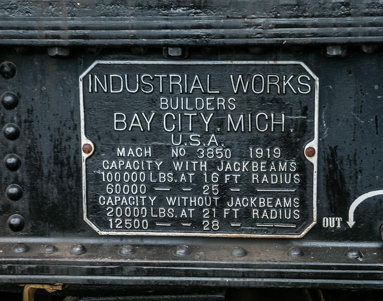 Info plate on Crane car.