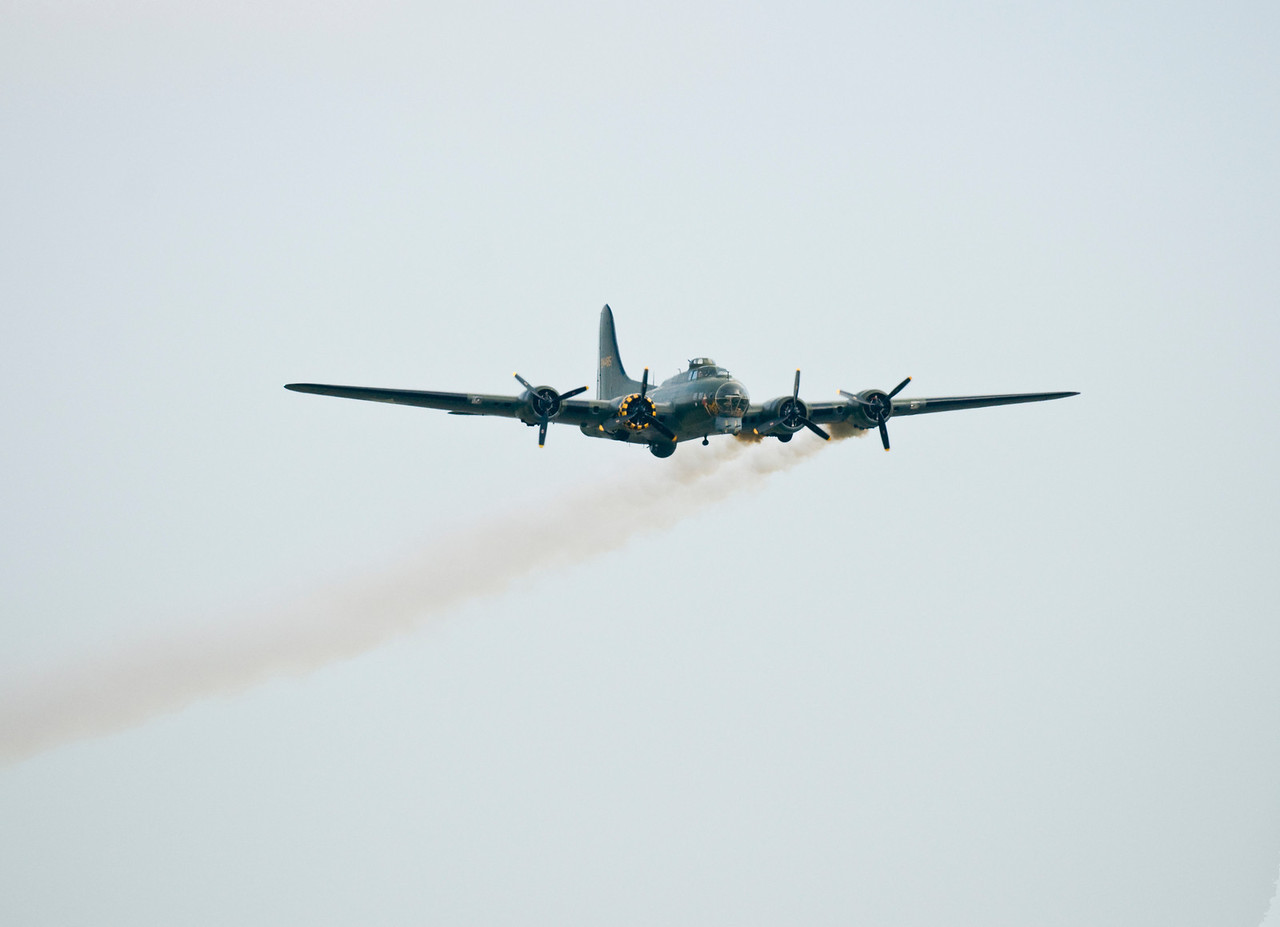 Sally B at Duxford 2011. The smoke is in Remembrance of the many who didn't come back.