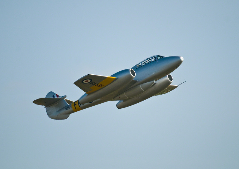 Gloster Meteor at Duxford 2011. First display flight for this beatifully restored plane.