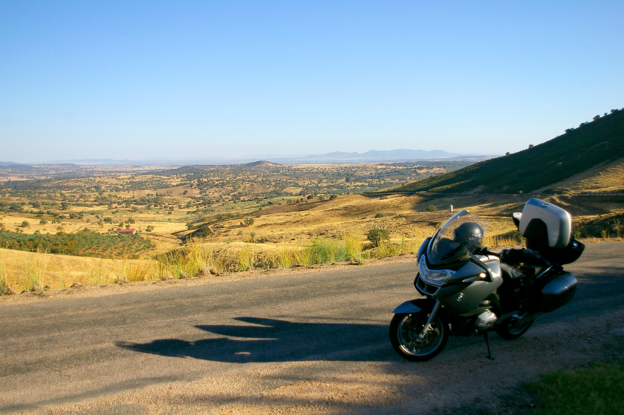 My Beemer. Somewhere between Logrosan and Berzocana, Extremadura, Spain