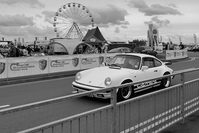 Porsche Carrera at the Silverstone Classic 2017 bw