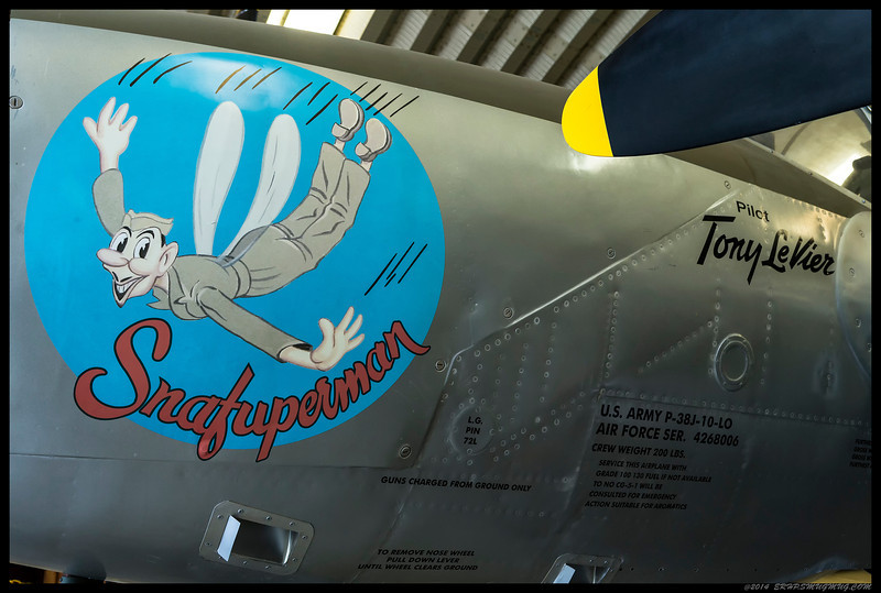 Artwork on the main fuselage of a P-38J.