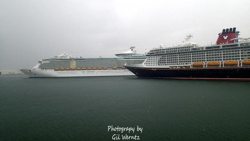 Royal Caribbean & Disney in the rain at Port Canaveral