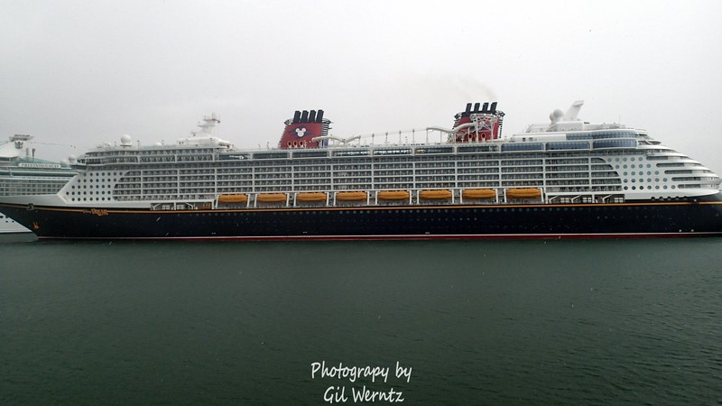 Disney Dream in the rain at Port Canaveral