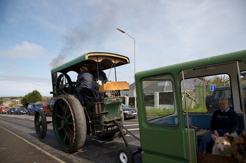 steam engine and bus