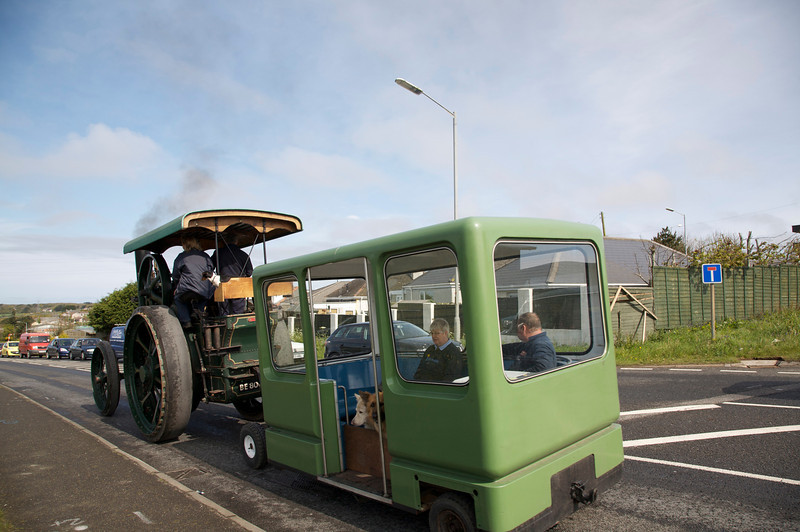 old steam engine and bus