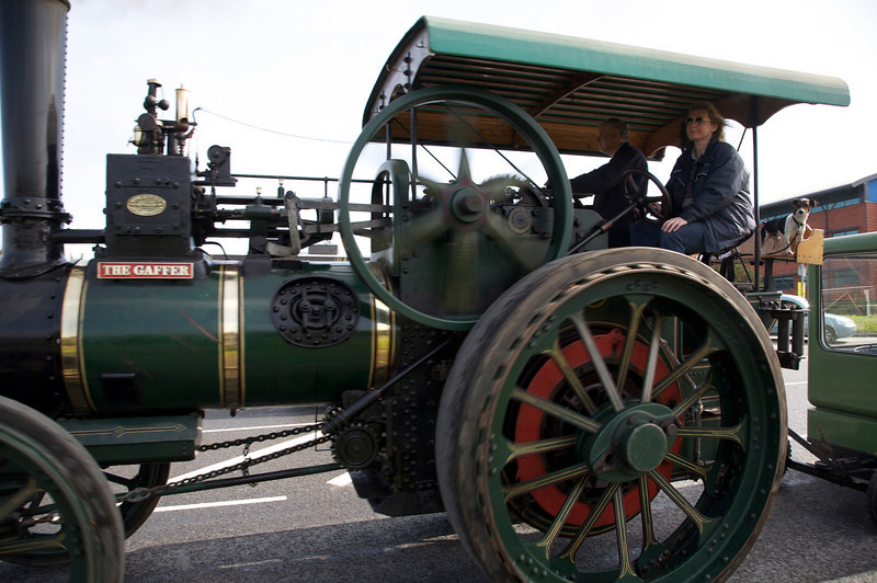 steam engine  and dog out for a ride