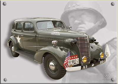 '38 Chevy Restored by Chris Ostrowski as staff car for the Commanding General, 3d US Army