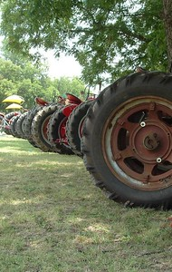 A row of rubber lined up at the Glen Rose, Texas tractor show