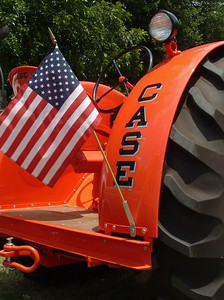 A patriotic Case tractor at show in Glen Rose, Texas
